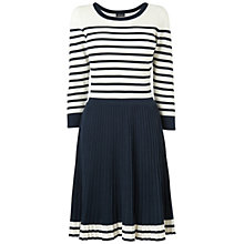 Buy Jaeger Breton Pleated Knit Dress, Navy Online at johnlewis.com