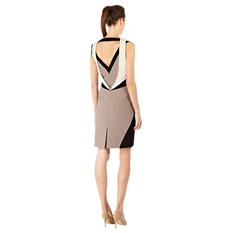 Buy Warehouse Colour Block Dress, Cream Online at johnlewis.com