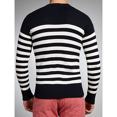 Buy Polo Ralph Lauren Striped Button Shoulder Crew Neck Jumper Online at johnlewis.com