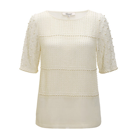 Buy Somerset by Alice Temperley Beaded Top, Cream Online at johnlewis.com