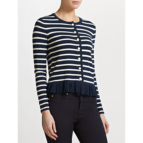 Buy Somerset by Alice Temperley Striped Frill Detail Cardigan, Navy/Cream Online at johnlewis.com