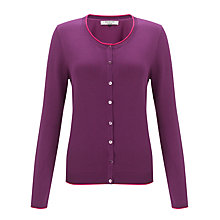 Buy COLLECTION by John Lewis Alicia Contrast Tipping Cardigan, Plum/Pink Sorbet Online at johnlewis.com