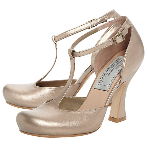 Buy Bertie Acanda Leather T-Bar Curved Heel Court Shoes Online at johnlewis.com