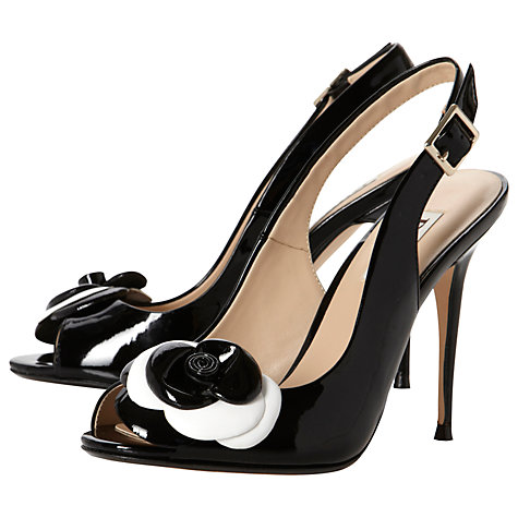 Buy Dune Hark Patent Flower Detail Slingback Sandals, Black Online at johnlewis.com