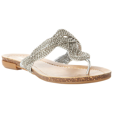 Buy Dune Jenna Bead and Chain Embelished Satin Sandals, Silver Online at johnlewis.com