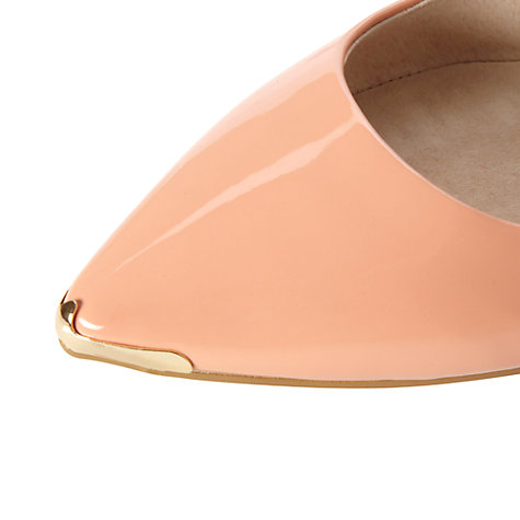 Buy Dune Mardi Patent Metal Toe Trim Pumps, Apricot Online at johnlewis.com