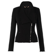 Buy Jigsaw Urban Texture Zipped Jacket, Black Online at johnlewis.com