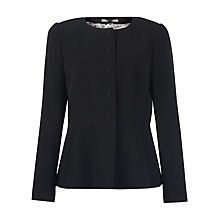 Buy Jigsaw Fine Wool Pleat Jacket, Black Online at johnlewis.com