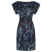 Buy Jigsaw Floral Blurred Gathered Dress, Blue Online at johnlewis.com