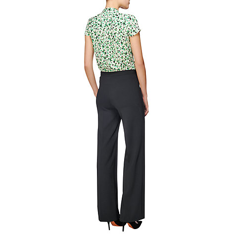 Buy Jaeger Flat Front Trousers, Black Online at johnlewis.com