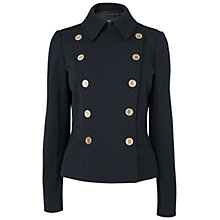 Buy Jaeger Double Breast Gold Tone Button Jacket, Black Online at johnlewis.com
