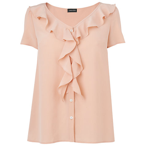 Buy Jaeger Waterfall Blouse, Light Peach Online at johnlewis.com