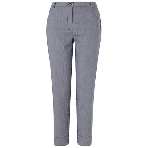 Buy Jaeger Stripe Seersucker Trousers, Navy Online at johnlewis.com