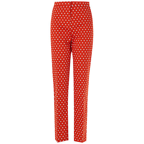Buy Jaeger Spotty Ankle Trousers, Red Online at johnlewis.com