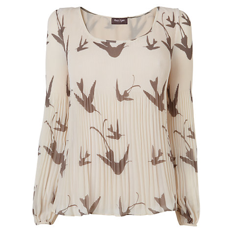Buy Phase Eight Pleated Bird Blouse, Neutral Online at johnlewis.com
