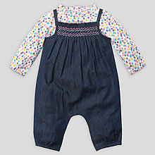 Buy John Lewis Baby Smock Dungaree Set, Chambray/Multi Online at johnlewis.com