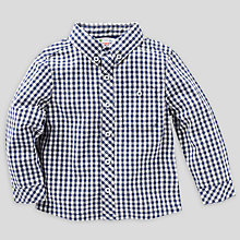 Buy John Lewis Long Sleeved Gingham Shirt, Navy Online at johnlewis.com