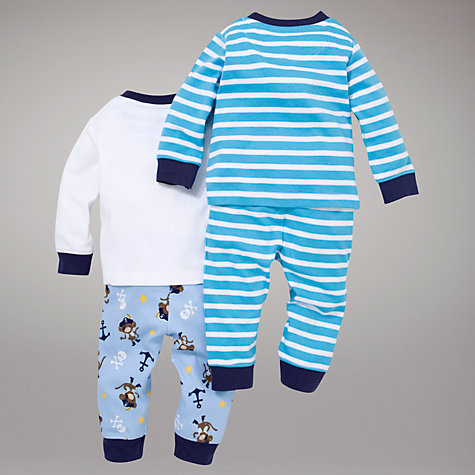 Buy John Lewis Pirate Monkey Pyjamas, Pack of 2, Blue Online at johnlewis.com