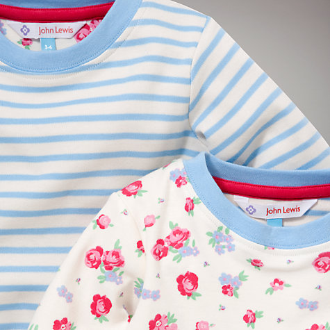 Buy John Lewis Rose and Stripe Pyjamas, Pack of 2, Pink/Blue Online at johnlewis.com