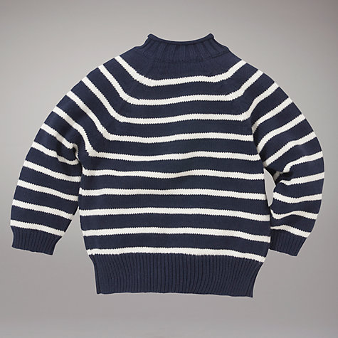 Buy John Lewis Striped Pie Crust Collar Jumper, Navy/White Online at johnlewis.com