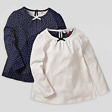 Buy John Lewis Plain and Spot Tops, Pack of 2, Navy/Cream Online at johnlewis.com