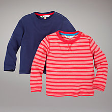 Buy John Lewis Striped and Plain Tops, Pack of 2, Red/Navy Online at johnlewis.com