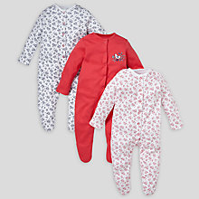 Buy John Lewis Baby La Rochelle Ditsy and Bird Print Sleepsuits, Pack of 3, Red Online at johnlewis.com