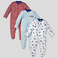 Buy John Lewis Baby Soldier and Stripe Sleepsuits, Pack of 3, Red/Blue Online at johnlewis.com