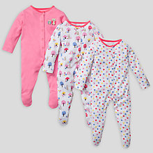 Buy John Lewis Baby Owl Sleepsuits, Pack of 3, Pink Online at johnlewis.com