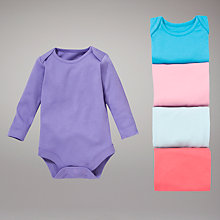 Buy John Lewis Baby Pastel Bright Bodysuits, Pack of 5 Online at johnlewis.com