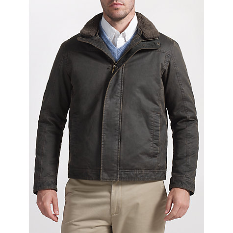 Buy John Lewis Faux Shortie Borg Collar Jacket, Brown Online at johnlewis.com