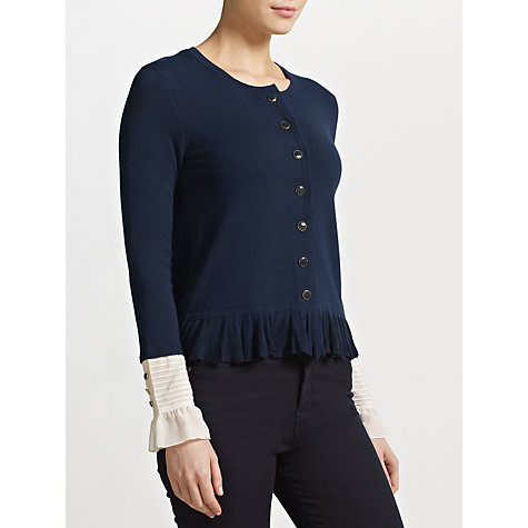 Buy Somerset by Alice Temperley Frill Detail Cardigan, Navy Online at johnlewis.com
