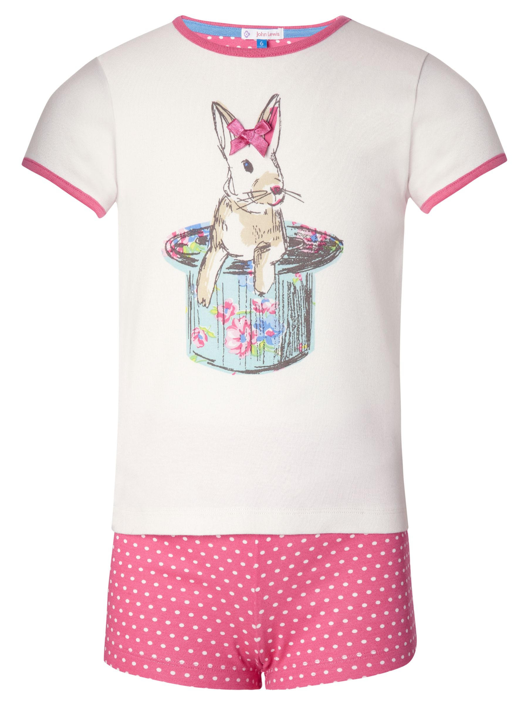 John Lewis Girl Bunny Shortie Pyjamas, Pink