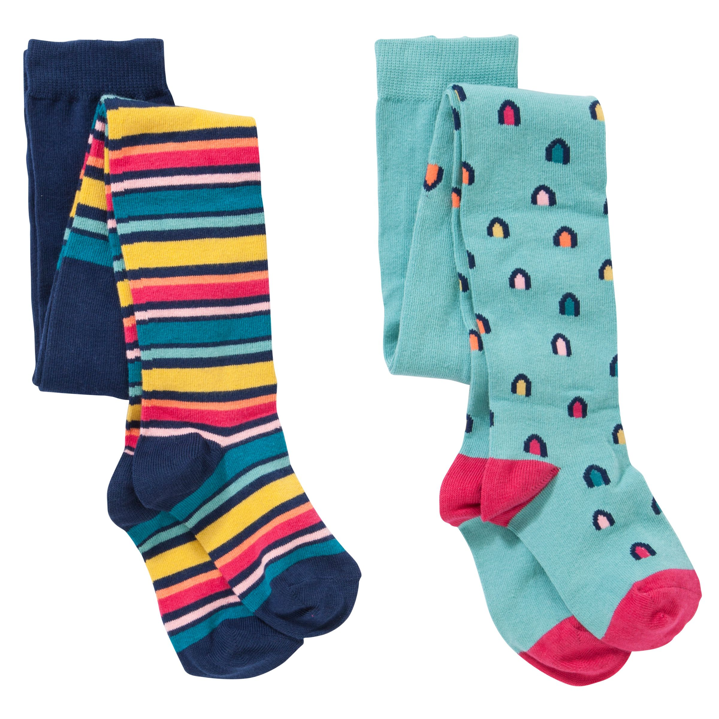 John Lewis Girl Brights And Stripes Tights, Pack of 2, Multi