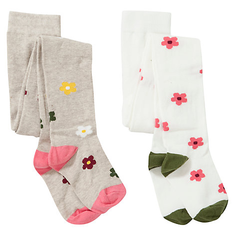 Buy John Lewis Girl Floral Tights, Pack of 2, Multi Online at johnlewis.com