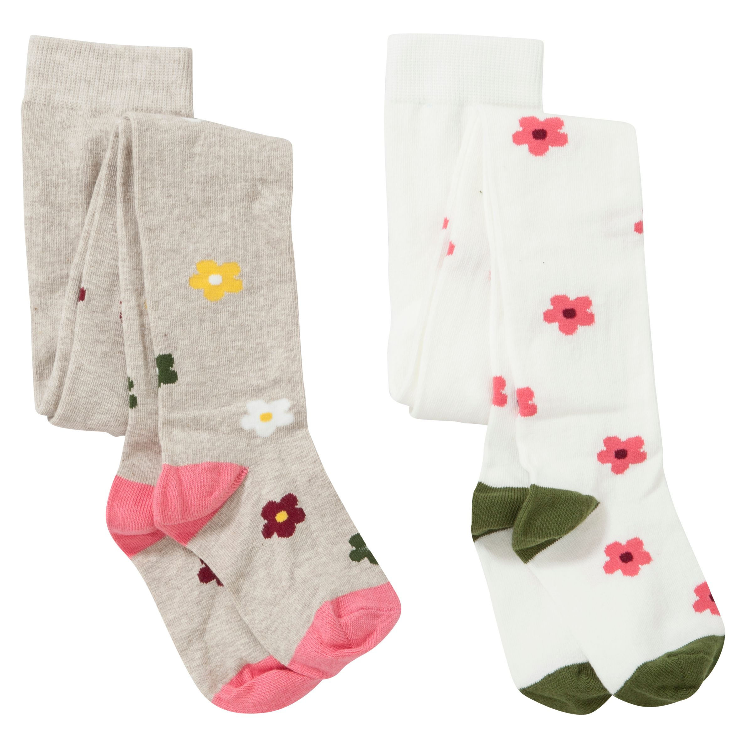 John Lewis Girl Floral Tights, Pack of 2, Multi