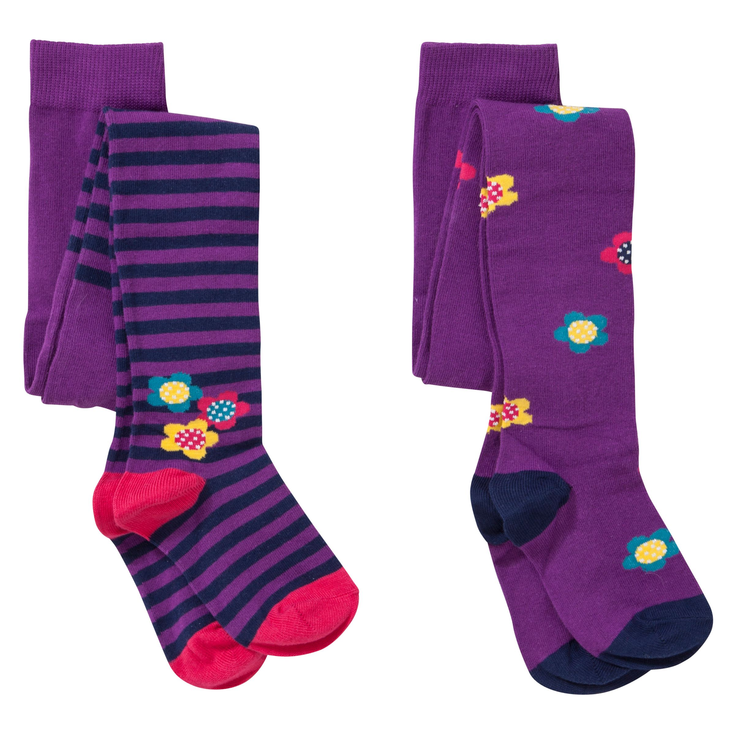 John Lewis Girl Patterned Tights, Pack of 2, Purple