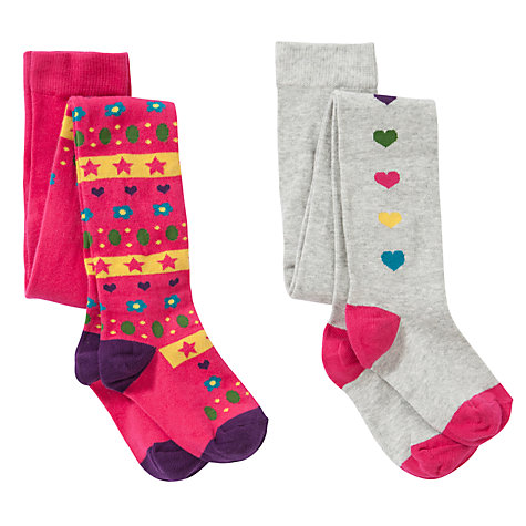 Buy John Lewis Girl Fair Isle Heart Tights, Pack of 2, Multi Online at johnlewis.com