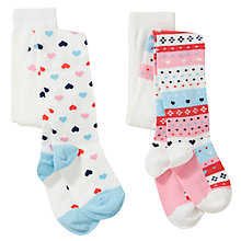 Buy John Lewis Girl Fair Isle Tights, Pack of 2, White/Multi Online at johnlewis.com