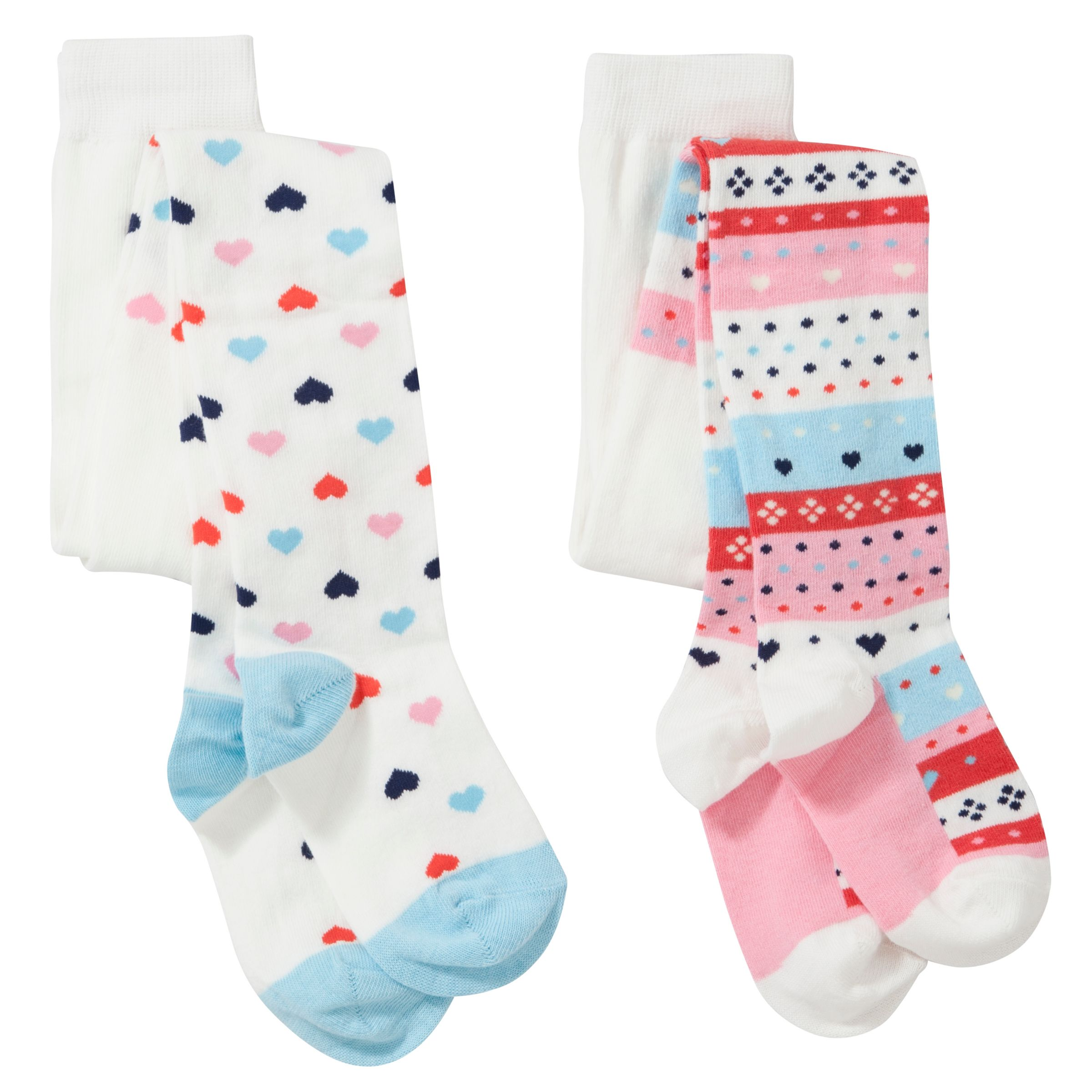 John Lewis Girl Fair Isle Tights, Pack of 2, White/Multi
