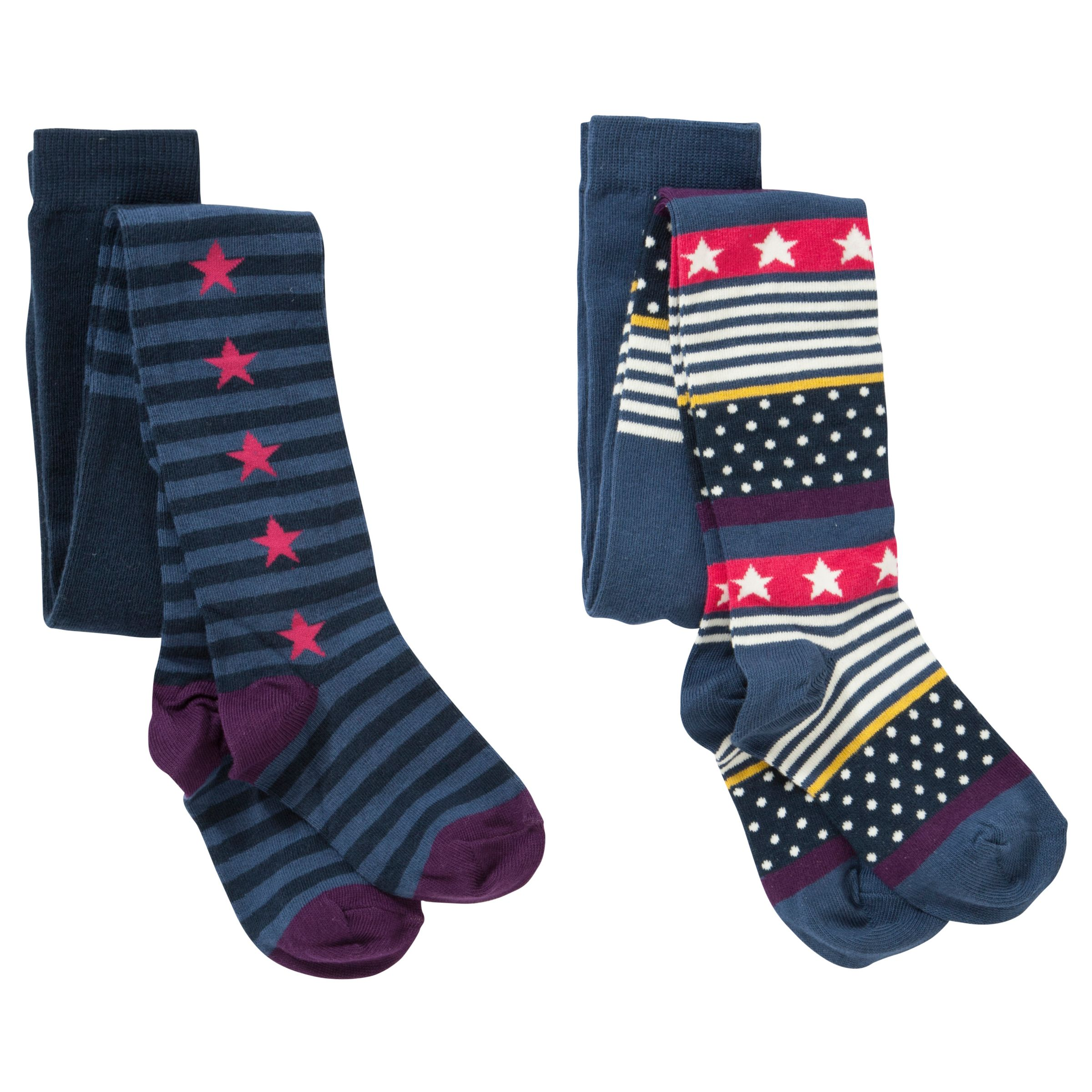 John Lewis Girl Star Print Tights, Pack of 2, Blue/Multi