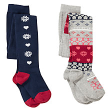 Buy John Lewis Girl Fair Isle Tights, Pack of 2, Navy/Red Online at johnlewis.com