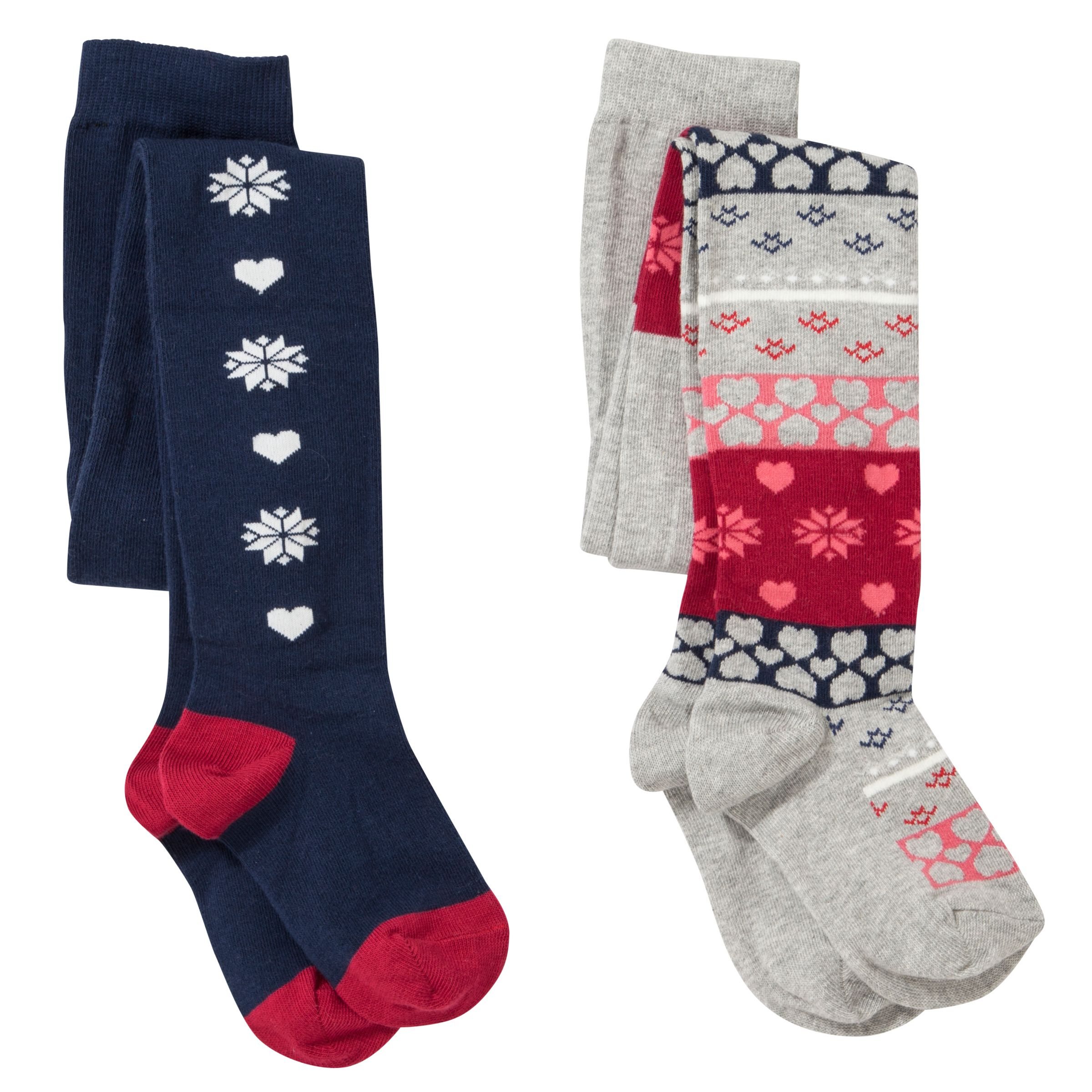 John Lewis Girl Fair Isle Tights, Pack of 2, Navy/Red