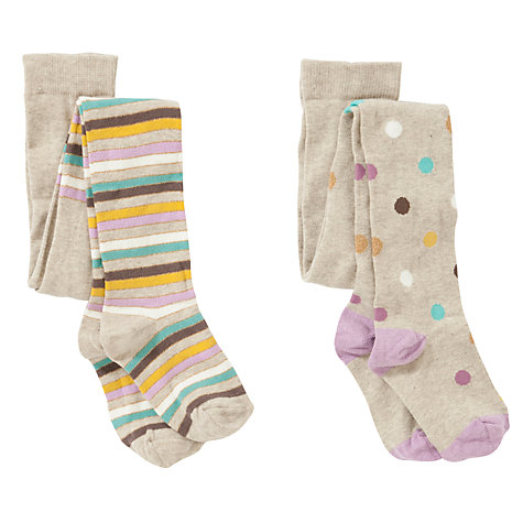 Buy John Lewis Girl Pastel Spots And Stripes Tights, Pack of 2, Multi Online at johnlewis.com