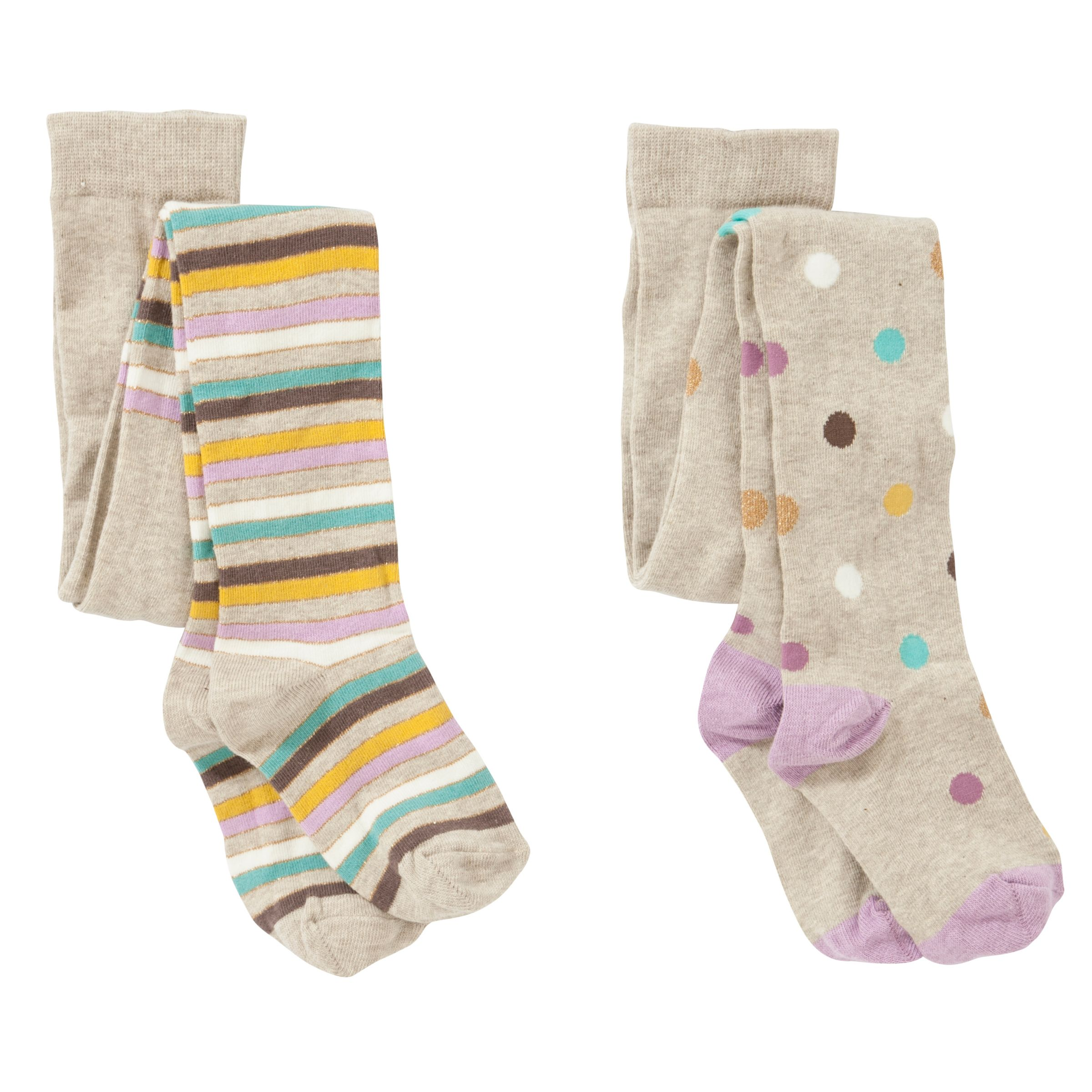 John Lewis Girl Pastel Spots And Stripes Tights, Pack of 2, Multi