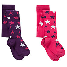 Buy John Lewis Girl Star Print Tights, Pack of 2, Pink/Purple Online at johnlewis.com