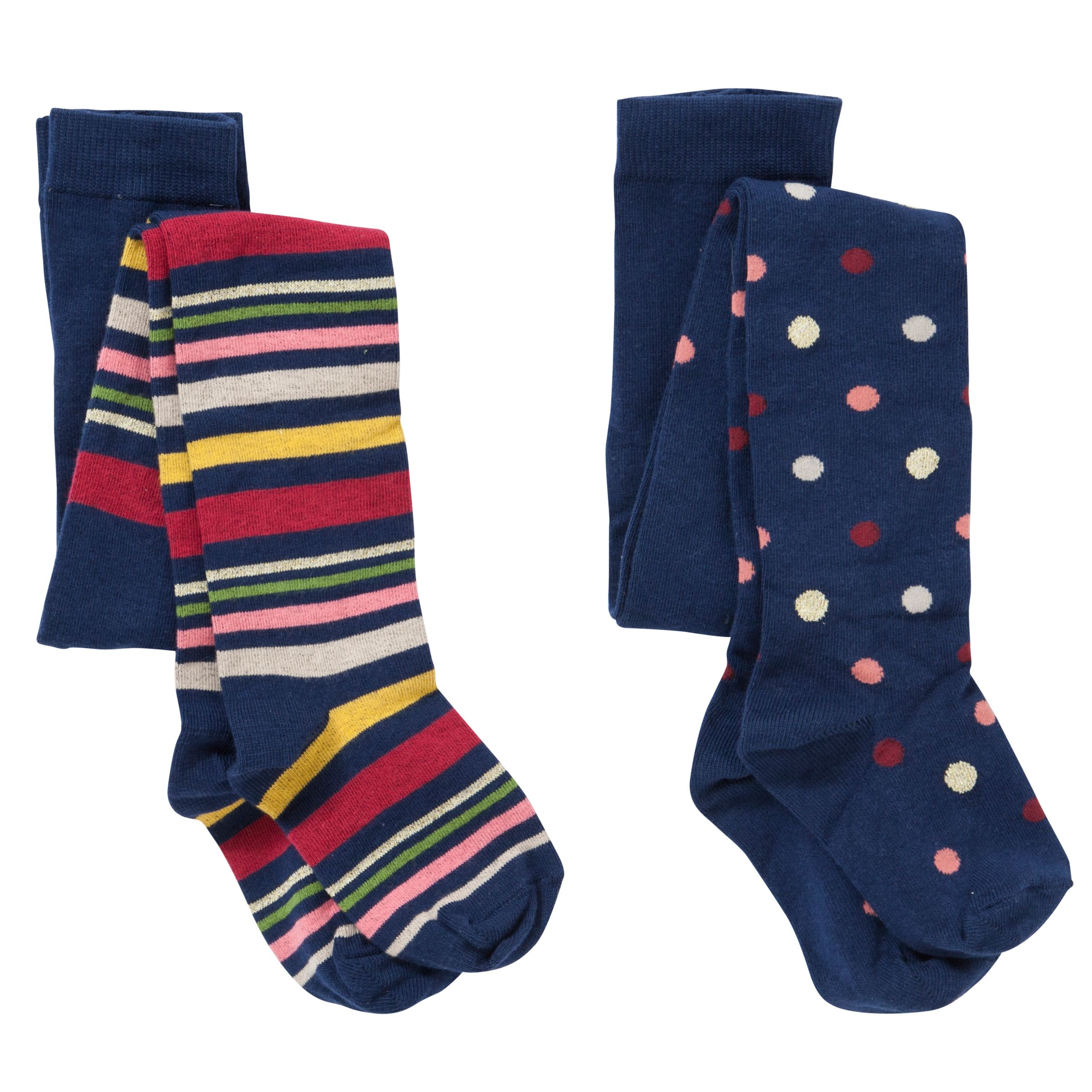 John Lewis Girl Spots and Stripes Tights, Pack of 2, Navy/Multi