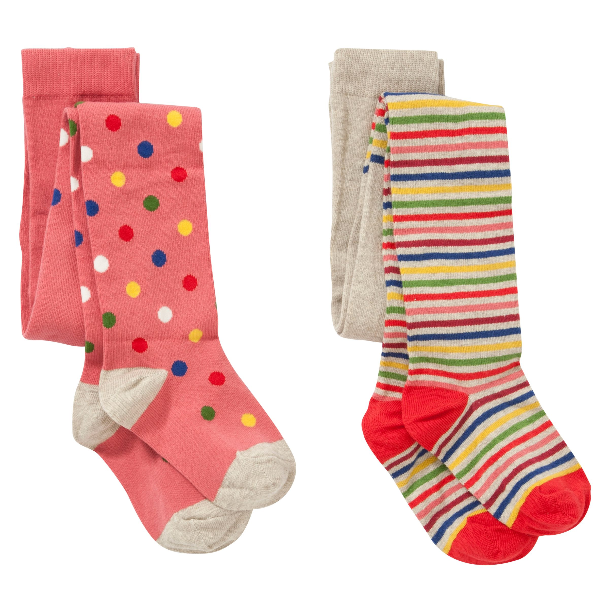 John Lewis Girl Spots and Stripes Tights, Pack of 2, Pink/Multi