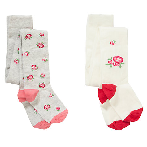 Buy John Lewis Girl Vintage Rose Tights, Pack of 2, Pink/Cream Online at johnlewis.com
