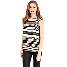 Buy Oasis Stripe Shoulder Pad T-Shirt, Multi Online at johnlewis.com